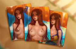 beach breasts kittew leona leona_(league_of_legends) long_hair messy_hair nipples paper_clip photo pool_party_leona sunflower swimsuit topless umbrella