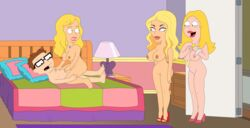 1boy 3girls ambiguous_penetration american_dad ashley blonde_hair caught cowgirl_position francine_smith glasses gp375 hands_on_another's_chest hands_on_another's_knees large_breasts laying laying_down laying_on_bed naked nipples nude open_mouth partially_visible_testicles sitting sitting_on_penis sitting_on_person steve_smith