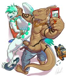 2018 4_toes 5_fingers anal anal_sex anthro anthro_on_anthro backpack bag big_penis black_markings blue_eyes blue_penis bondage bottomless bound bowser brown_penis brown_scales camera cellphone chains claws clothed clothing cum cum_drip cum_on_face cum_while_penetrated dragon dripping duo erection eyewear feathered_wings feathers from_behind_position glasses green_hair green_stripes hair hand_on_head hands_tied hi_res humanoid_penis jeans jewelry light_bondage lizard male mario_bros markings muscular muscular_male necklace nintendo open_mouth pants penetration penis phone photo photography precum red_eyes reptile ring rollwulf scales scalie sex shirt shrawn signature simple_background standing stripes submissive_male tank_top tephros toes tongue tongue_out topless twitter vein veiny_penis video_games white_background white_scales wings yaoi