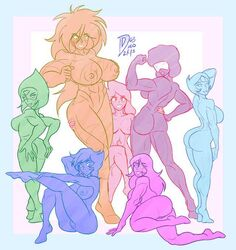 7girls amethyst_(steven_universe) cartoon_network crystal_gem exposed_ass exposed_breasts exposed_pussy female_only garnet_(steven_universe) group huge_breasts jasper_(steven_universe) lapis_lazuli_(steven_universe) multiple_girls muscular pearl_(steven_universe) peridot_(steven_universe) pose steven_universe stevonnie targetmaster