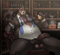alcohol anthro balls bear beard beverage big_balls big_penis bleats clothed clothing facial_hair half-erect humanoid_penis library male mammal necktie overweight overweight_male penis pipe pubes sitting smile smoke solo teacher unzipped