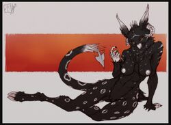 2015 5_fingers abs abstract_background anthro arm_support avian beckoning bedroom_eyes big_breasts biped black_border black_claws black_pussy black_tail border breasts butt_from_front caprine claws curved_horn demon demon_gibbs_(onom) digital_drawing_(artwork) digital_media_(artwork) digitigrade dipstick_ears feather_tuft feathers feline female front_view frown full-length_portrait fur grey_tail gryphon half-closed_eyes head_tuft hooves horn humanoid_hands hybrid hybrid_tail inner_ear_fluff leopard lethal_doors long_tail lying mammal multicolored_feathers multicolored_tail neck_tuft nipples non-mammal_breasts nude on_side orange_background orange_eyes pinup portrait pose pussy ridged_horn rosettes seductive simple_background snow_leopard solo spade_tail spots spotted_feathers spotted_fur spotted_tail stare striped_feathers striped_fur stripes talons tuft two_tone_feathers white_background white_beak white_hooves white_horn white_nipples white_spots white_stripes white_tail