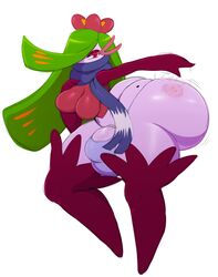 1girl 2018 arm_behind_back ass ass_slap beauty_mark big_ass big_breasts big_penis big_testicles breasts bulge clothed dickgirl erection green_hair hair_over_one_eye huge_ass intersex long_hair looking_at_viewer motion_lines nintendo penis plant pokémon_(species) pokemon pokemon_sm purple_skin red_eyes scarf slapping sssonic2 testicles thick_thighs thighhighs tsareena underwear veins veiny_penis video_games white_skin wide_hips