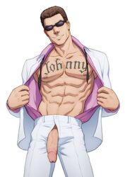 abs actors fighter human johnny_cage male male_only mortal_kombat muscle muscular pecs penis_through_fly presenting simple_background smile smug solo_male suit sunglasses tattoo veiny_penis video_games white_background
