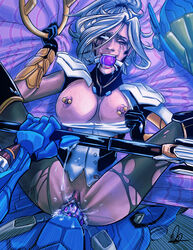 2girls ahe_gao areolae ball_gag big_breasts breasts fucked_silly highres large_breasts lying mercy midnightonmars nipple_piercing nipples on_back overwatch penetration pharah piercing pov pussy runny_makeup sex strap-on vaginal_penetration white_hair yuri