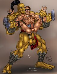 2boys anal anal_sex boss_monster cum erection gay goro huge_cock humansub icemanblue johnny_cage legs_held_open male male_only male_penetrating mortal_kombat multiple_boys penis reverse_suspended_congress size_difference spread_legs standing_sex sunglasses tattoo tears video_games wrist_grab yaoi yellow_skin