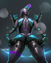 gap low-angle_view mecha power_armor psyk323 rear_view robot_girl spread spreading_ass thigh_gap thighs