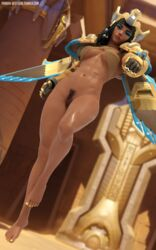 3d abs black_eyes black_hair blender dark-skinned_female dark_skin egyptian egyptian_clothes egyptian_dress fareeha_amari female female female_pubic_hair flying high_resolution looking_at_viewer muscle muscular_female overwatch pharah pharah-best-girl power_armor pubic_hair rocket scar sweat transparent_clothes yellow_nails