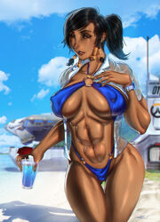 abs big_breasts breasts cleavage dark-skinned_female dark_skin female female_only large_breasts looking_at_viewer muscles muscular muscular_female overwatch pharah solo swimsuit ultamisia