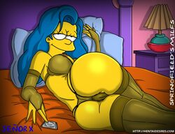 big_ass big_breasts blue_hair condom lingerie marge_simpson senor_x the_simpsons yellow_skin
