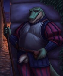 1boy alligator anthro armor balls clothed clothing crocodilian looking_at_viewer male male_only medieval melee_weapon noodlewd outside penis reptile scalie solo solo_focus solo_male sword uncut weapon