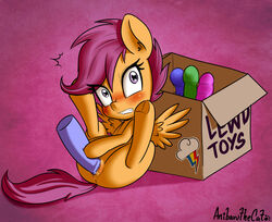 2018 angry anibaruthecat blush box cutie_mark dildo english_text equine eyelashes female feral friendship_is_magic hair hi_res hooves horse mammal masturbation my_little_pony pegasus penetration pony pussy pussy_juice rainbow_dash_(mlp) scootaloo_(mlp) sex_toy solo spread_legs spreading text underhoof wings young