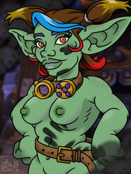 1girl 2018 alliance_(warcraft) alliance_garrison_(warcraft) areolae artist_logo artist_signature background bare_arms bare_ass bare_breasts bare_hips bare_legs bare_midriff bare_shoulders bedroom_eyes belt belt_buckle big_ass big_ears big_hips big_lips blizzard_entertainment blue_hair blurry_background blurry_foreground bottomless breast_focus breasts brown_hair clavicle color colored colored_background colored_hair colorful colorful_hair cowboy_shot curvy detailed_background digital_media_(artwork) engineer erect_nipples exhibitionism exhibitionist exposed exposed_ass exposed_breasts exposed_pussy exposure eyebrows eyelashes eyes female female_focus female_only freckles functionally_nude garrison_(warcraft) goblin goblin_(warcraft) goblin_female goggles goggles_around_neck grease_stains green_lips green_skin hair hair_ornament hairless_pussy hips large_ears legs lips loose_belt machinery medium_breasts medium_hair midriff mouth moxie_screwdriver multicolored_hair naked_belt naked_goggles navel nipples no_bra no_panties nude nude_female oil_stain orange_eyes original original_character partially_visible_vulva perky_breasts plump_ass plump_lips pointy_ears public public_exposure public_nudity ragnar_oktopod red_hair ribs ringlets screencap_background seductive seductive_smile shiny_hair shiny_lips shortstack shoulders showing showing_off slightly_chubby slightly_muscular small_breasts smaller_female smile solo solo_female toned toned_female topless twintails uncensored video_games voluptuous vulva warcraft world_of_warcraft yellow_hair yellow_sclera