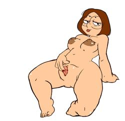 big_clitoris brown_hair chubby erect_clitoris family_guy fat_mons feet glasses looking_at_viewer masturbation meg_griffin pussy tko-san tongue