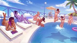 ana_amari ass breasts d.va female highres jumping krysdecker large_breasts lying medium_breasts mei_(overwatch) mercy nipples nude on_stomach outdoors overwatch partially_submerged pharah pool purple_skin pussy sitting sombra sunbathing sunglasses tanline tracer widowmaker