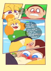 animal_crossing anthro blush clothed clothing comic duo english_text facesitting female fur hair human isabelle_(animal_crossing) male mammal midnight-kinky-kitsune nintendo pussy speech_bubble straight sweat text video_games villager_(animal_crossing)