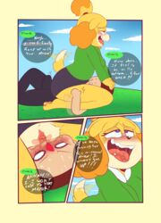 animal_crossing anthro blush clothed clothing comic duo english_text erection facesitting female fur hair human isabelle_(animal_crossing) male mammal midnight-kinky-kitsune nintendo pussy saliva speech_bubble straight sweat text tongue video_games villager_(animal_crossing)