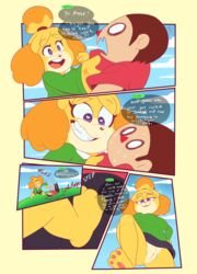 animal_crossing anthro clothed clothing comic duo english_text feet female fur hair human isabelle_(animal_crossing) male mammal midnight-kinky-kitsune nintendo pussy speech_bubble straight sweat text video_games villager_(animal_crossing)