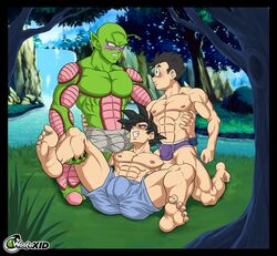 3boys alien_boy antennae bara black_eyes black_hair buldge bulky comic curled_toes dragon_ball dragon_ball_z erection father_and_son gay gay_orgy green_skin homosexual incest interspecies kneeling manga multiple_boys muscle muscles muscular nude on_back orgy outdoors pecs piccolo ripped son_gohan son_goku spread_legs woofer_kid wooferlicke wooferlicke_(artist) yaoi