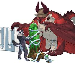 anthro blush canine christmas claws dildo dragon hat holidays horn jacketbear kemono male mammal mold muscular navel paint penis scalie sex_toy size_difference smile wolf