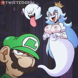 animated areolae big_breasts boosette bouncing_breasts breasts female large_breasts luigi male nipples no_sound straight super_mario_bros. twistedgrim webm