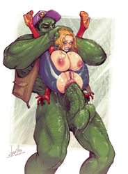 anal anal_prolapse anal_sex anus areolae balls big_breasts big_dom_small_sub breast_cutout breasts cap captain_marvel carol_danvers clenched_teeth crotch_cutout crotchless crotchless_clothes defeated devil_hs endured_face erection female full_nelson green_skin huge_cock hulk hulk_(series) jacket large_breasts male marvel nipples oversplit penetration penis prolapse pussy reverse_upright_straddle ruined_anus sex squirt stand_and_carry_position straight stretched_anus testicles wet_pussy