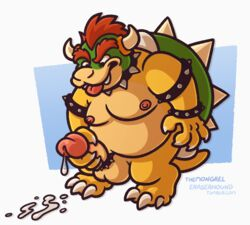 anthro balls bowser collar cum erection hair koopa male male_only mario_bros masturbation nintendo nipples nude penile_masturbation penis red_hair scalie solo solo_male spikes themongrel tongue tongue_out video_games