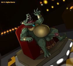anthro armlet armor balls big_balls bottomless bracelet cape claws clothed clothing crocodilian crown digital_media_(artwork) donkey_kong_(series) gem humanoid_penis jewelry k_rool kremling male male_only nintendo open_mouth penis reptile saliva scalie sitting smile solo solo_male teeth thick_penis tongue video_games