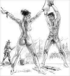 arms_above_head ass bondage breasts clothed_male_nude_female clothed_male_nude_male female femsub kindinov male male_and_female_subs malesub multiple_subs nude penis public public_nudity punishment puritan rope spread_eagle whipping