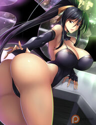 akeno_himejima ass black_hair breasts cloth_choker covering covering_crotch dazzling_background devil_wings erect_nipples erection_under_clothes female female fingerless_arm_sleeves haganef hair_between_eyes hair_ornament hair_ribbon hand_behind_back hand_on_desk high_school_dxd large_ass large_breasts long_hair long_ponytail long_sleeves nipples open_mouth pattern_clothing ponytail purple_eyes ribbon sexy_pose skimpy_clothes slim_waist smile smooth_skin thick_ass thick_thighs tied_hair very_long_hair wings