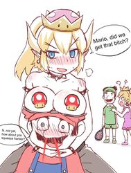 2boys 2girls bleeding blonde_hair blue_eyes blush bowser bowsette breasts breasts_on_head breasts_out_of_clothes breasts_outside censored choker crown dialogue earrings eyes fangs female greenteaneko hat horn human humanized koopa large_breasts looking_at_viewer luigi male mario moustache mushroom mustache nintendo nosebleed pointy_ears ponytail princess_peach rule_63 shell sketch spikes super_crown super_mario_bros. tennis tennis_racket tennis_uniform text topless