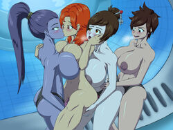 alternate_breast_size anal areolae asian ass blizzard_entertainment blush bosomancer breasts brown_hair couple double_penetration emily_(overwatch) eye_contact female freckles hair huge_breasts human interracial kissing looking_at_partner looking_down looking_up mei_(overwatch) nipples nude orgy overwatch purple_hair smile standing standing_sex strap-on tracer vagina vaginal_penetration widowmaker yuri