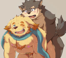 all_fours anal blush canine canine cusith doggy_style from_behind_position fur male male/male mammal moritaka nipples overweight penis scarf sex slightly_chubby sweat tokyo_afterschool_summoners tongue tongue_out toraya_inugami yellow_fur