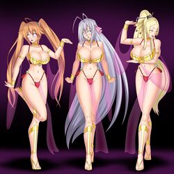 antenna_hair armbands belly_dancer belly_dancer_outfit blonde_hair bluebullpen bracelets breasts brown_hair choker femsub glazed_eyes glowing glowing_eyes hair_ornament hair_ribbon happy_trance harem high_heels high_school_dxd high_school_dxd_hero large_breasts long_hair milf multiple_girls ninetails_youkai posing rossweisse see-through_clothing shidou_irina smile spiral spiral_eyes symbol-shaped_pupils symbol_in_eye tied_hair very_long_hair white_hair yasaka_(high_school_dxd) young_female