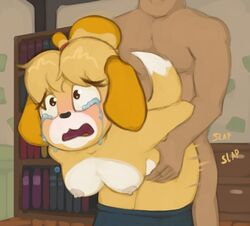 animal_crossing anthro blush breasts canine clothing crying duo eyelashes female forced from_behind fur furry hands_behind_back human human_on_anthro interspecies isabelle_(animal_crossing) male mammal marsminer motion_lines multicolored_fur nintendo open_mouth penetration rape sound_effects straight tears tongue two_tone_fur video_games yellow_fur