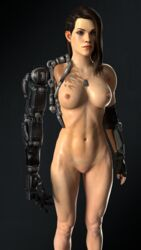 3d 3d_(artwork) bionic_arm bombshell breasts dog_tags green_eyes mechanical_arm mole navel nipples nude pewposterous prosthesis scars shaved_pussy shelly_harrison thick_eyebrows