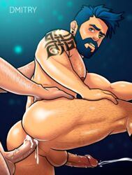 2boys anal_sex balls bara big_cock big_penis blue_hair cum_while_penetrated dmitry erect erection gay gay_sex green_eyes h-drawer hairy hairy_body hairy_chest homosexual huge_cock looking_back male male_only muscle muscles muscular muscular_male penis perineum pose posing sex uncensored yaoi