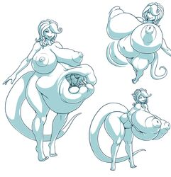 absorption absorption_vore breasts dragon_ball huge_breasts hyper_breasts kalnareff kalnareff_(character) majin nipples vore