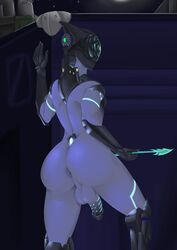 2018 5_fingers android anthro anus armor arrow ass balls big_ass big_butt butt flaccid girly glowing hamili hi_res humanoid invalid_tag machine male metal night not_furry penis robot sky solo spread_butt spreading testicles thick thick_ass thick_thighs thighs