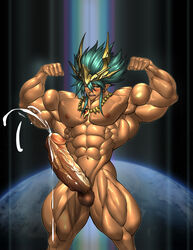 1boy 2015 abs bara biceps big_muscles big_penis blue_hair blush cho_aniki cum cum_explosion ejaculation flexing human hyper_muscles idaten luxuris male male_only manly muscle muscle_growth muscles muscular necklace nude patreon pecs penis penis_growth pubic_hair solo testicles