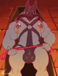 anthro bulge canine first_person_view gas_mask jackal male mammal marlon.cores mask muscular muscular_male nipple_piercing nipples pecs piercing rope solo standing submissive submissive_pov