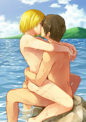 2015 2boys armin_arlert attack_on_titan barefoot blonde_hair blue_eyes blue_sky brown_hair bruise closed_eyes cloud couple dated duo eren_jaeger gay hug human human_only kissing male male_only mountain moxue_qianxi multiple_boys multiple_males nude ocean outdoors passionate rock romantic sea short_hair sitting sitting_on_lap sitting_on_person sky stone straddle straddling upright_straddle water wet wet_hair yaoi