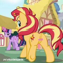 2018 alicorn anus ass bedroom_eyes building city cutie_mark duo equestria_girls equine feathered_wings feathers female feral friendship_is_magic hair half-closed_eyes horn house looking_at_viewer looking_back magic mammal multicolored_hair my_little_pony outside pussy seductive smile spread_pussy spreading succubi_samus sunset_shimmer sunset_shimmer_(eg) twilight_sparkle_(mlp) two_tone_hair unicorn wings