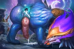 2018 5_fingers after_sex animal_genitalia anthro anus ass aurelion_sol_(lol) blue_skin cum cum_from_ass cum_on_ground dragon drooling eastern_dragon erection gaping gaping_anus gay genital_slit hand_on_butt knot league_of_legends male nude outside penis presenting presenting_anus presenting_hindquarters raised_tail rear_view riot_games rojika saliva slit solo sweat tongue tongue_out vein veiny_penis video_games yaoi
