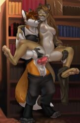 2018 alric_kyznetsov animal_genitalia animal_penis anthro anthro_on_anthro areola balls biped biting_lip black_nose book breasts brown_hair canine canine_penis chest_tuft clitoris clothed clothing cougar cum cum_in_pussy cum_inside digitigrade dripping duo dusty_(baldrek) erection exhibitionism facial_markings fangs feline female fox fur hair happy humanoid_hands humanoid_pussy inside jailbird knot library long_hair male mammal markings navel nipples partially_clothed pawpads paws penetration penis public pussy red_fox sex shelves smile spread_legs spreading stand_and_carry_position standing story straight teeth tuft vaginal_penetration