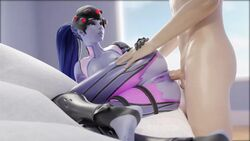 3d anal anal_sex animated artist_request blue_hair breasts female male nipples overwatch penis ponytail purple_skin pussy sex sound tagme webm widowmaker