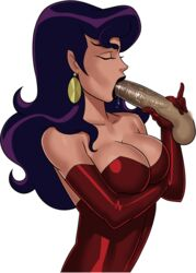 arms_crossed blowjob breasts circe_(dc) dc dc_comics dress eyes_closed female holding_penis justice_league_unlimited lex_luthor long_gloves long_hair medium_breasts penis purple_hair saliva saliva_drip saliva_on_penis solo sunsetriders7