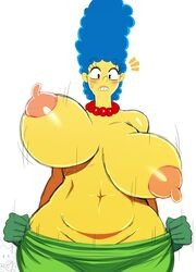 2018 2girls belly big_breasts black_eyes blue_hair blush breasts daughter dress erect_nipples eyebrows eyebrows_visible_through_hair eyelashes human human_only lisa_simpson marge_simpson milf mother mother_and_daughter necklace nipples parent sssonic2 stomach teeth the_simpsons thick_thighs unaligned_breasts wide_hips yellow_skin