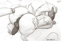 after_sex all_fours anal anus ass ass_up big_butt black_and_white caprine cum cum_in_ass cum_inside cum_string disembodied_penis fur humanoid_penis kindred_(lol) lamb_(lol) league_of_legends male male/male mammal mask matoc monochrome penis riot_games sheep simple_background video_games water