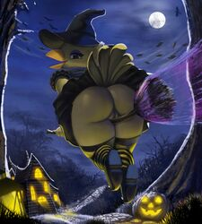 1girl 2018 anthro ass avian beak bird black_dress broom clothed clothing crotch_rub detailed_background dress exhibitionism exposed exposed_ass exposed_pussy eyelashes eyeliner feathers female female_only flying footwear halloween hat hi_res holidays house huge_ass humanoid_hands legwear long_socks looking_at_viewer magic_user moon night no_panties no_underwear outdoors outside presenting pumpkin pussy skirt skirt_lift sky socks solo solo_female solo_focus thick thick_ass thick_thighs thousandfoldfeathers tree trees upskirt vagina vanilla_(canary) wide_hips wind witch witch_hat yellow_feathers